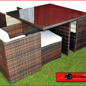 4 seater Poly rattan dining table set-74