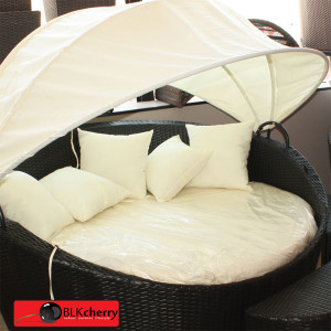 Poly Rattan Daybed with Adjustable Canvas-147