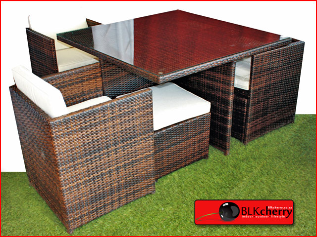 Seater poly rattan dining table set blkcherry