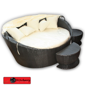 Poly Rattan Daybed with Adjustable Canvas-148
