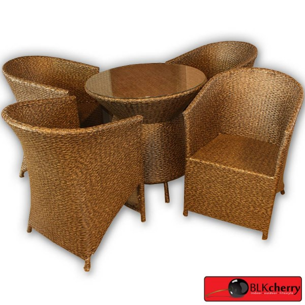 Brown Poly Rattan Outdoor Dining Table Set-158