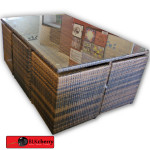 Brown Poly Rattan 6 Seater Compact Dining Table Set-140