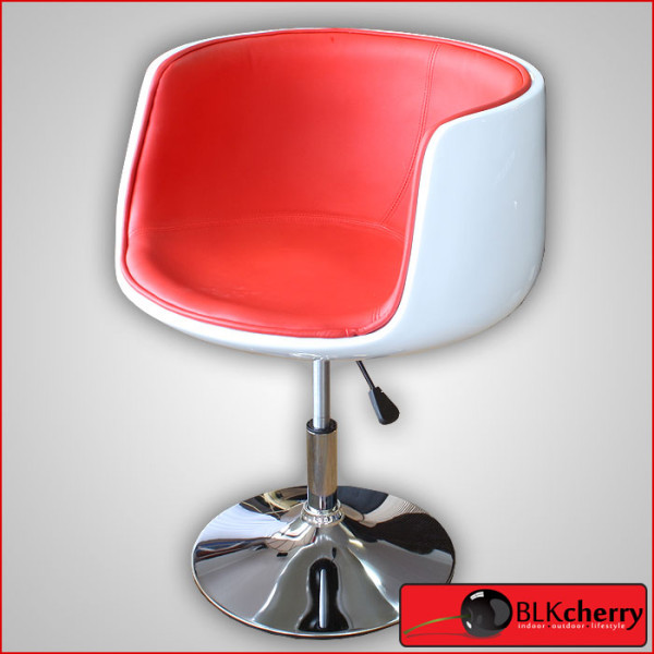Glossy White & Red Swivel Chair-162