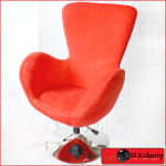 Red Velour Fabric Swivel Chair-170