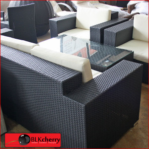 Black Poly Rattan 5 Seater Broad Arm Set-194