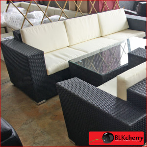 Black Poly Rattan 5 Seater Broad Arm Set-197