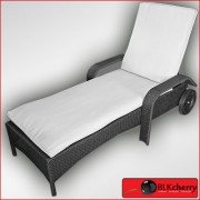 Poly Rattan Pool Lounger with Wheels-385