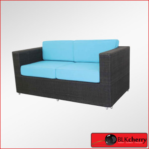 Black & Torquise Double Seater Poly Rattan Couch-442
