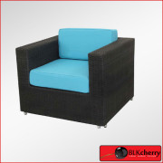 Black & Torquise Single Seater Poly Rattan Couch-440