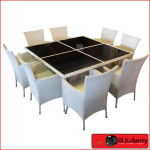 Poly Rattan 8 Seater White Dining Table Set with Glass top-458